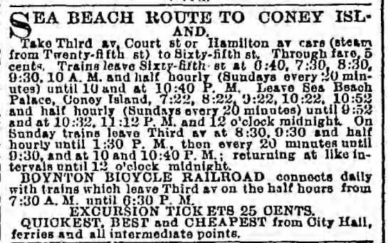 Advertisement for transportation to Coney Island, including the Boynton Bicycle Railroad