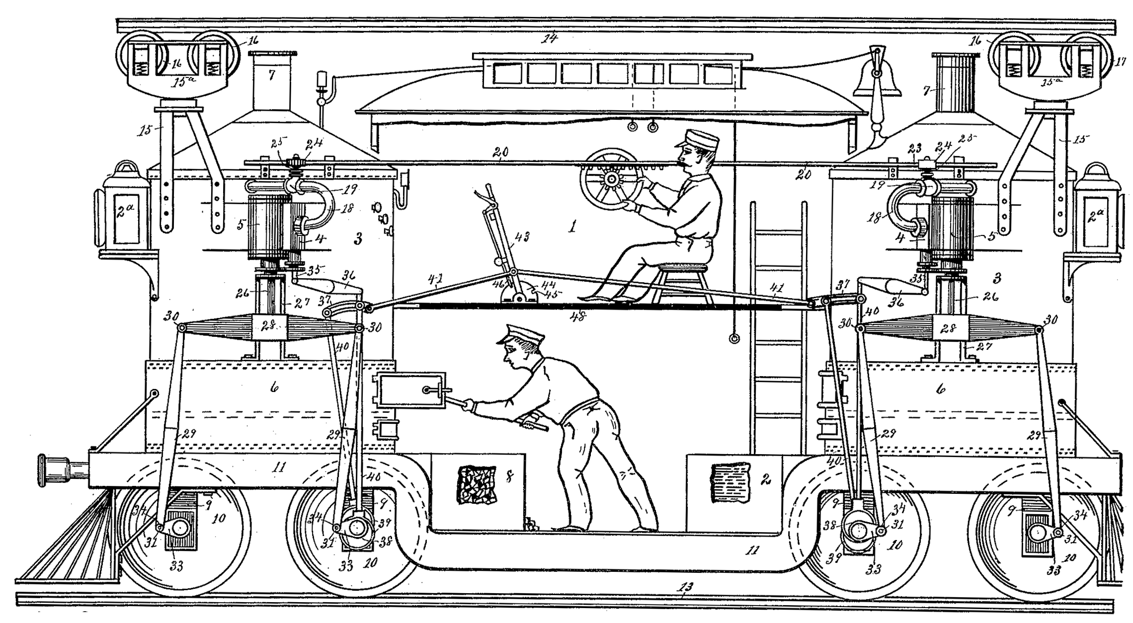 Cutaway of a monorail supported above and below, with men working inside.