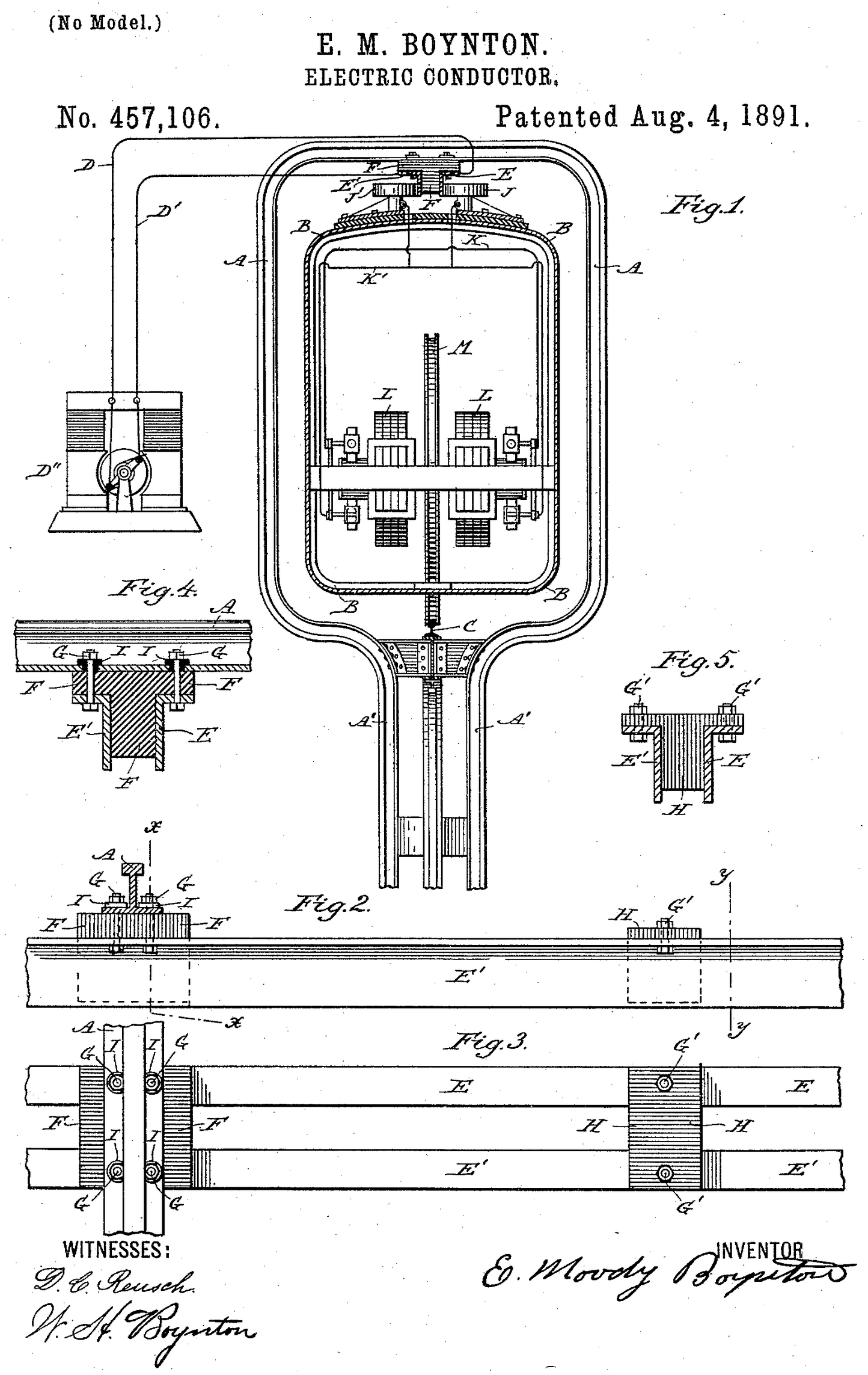 Patent diagram of an electric version of the Boynton Bicycle Railroad.